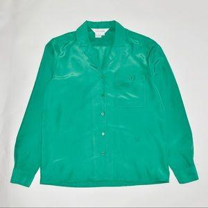 Vintage Satin Shirt in Emerald Green